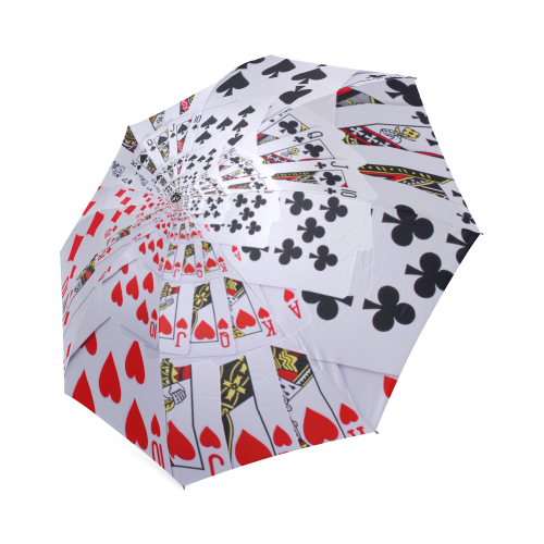 Poker Royal Flush All Suits Droste Spiral Foldable Umbrella (Model U01)