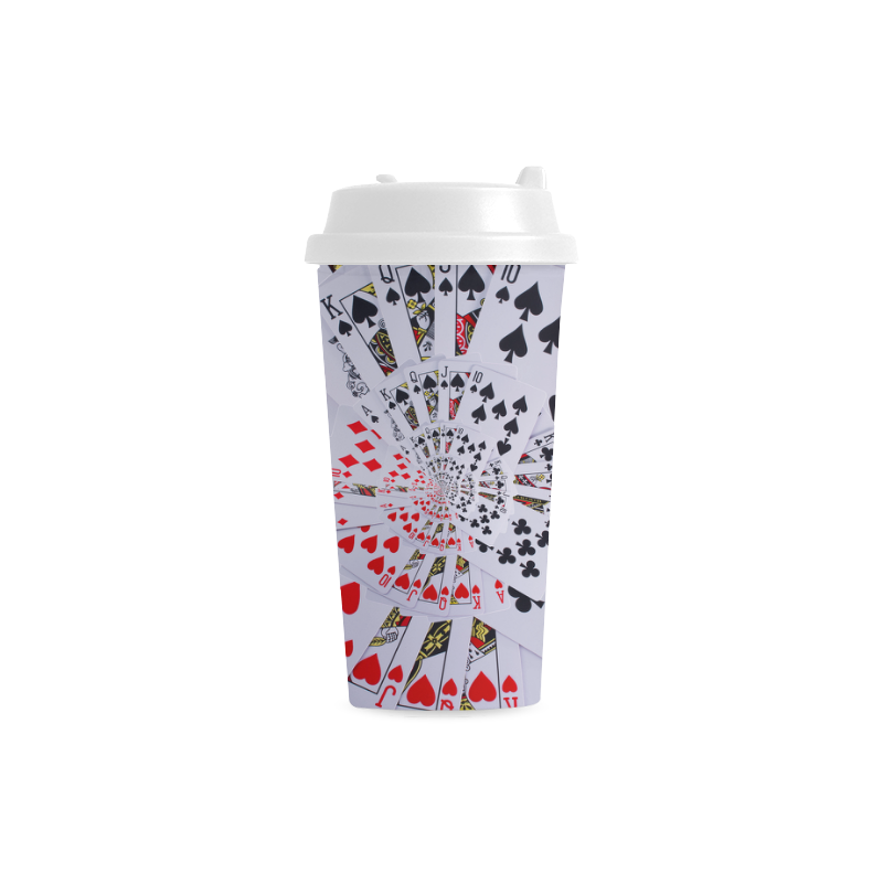 Poker Royal Flush All Suits Droste Spiral Double Wall Plastic Mug