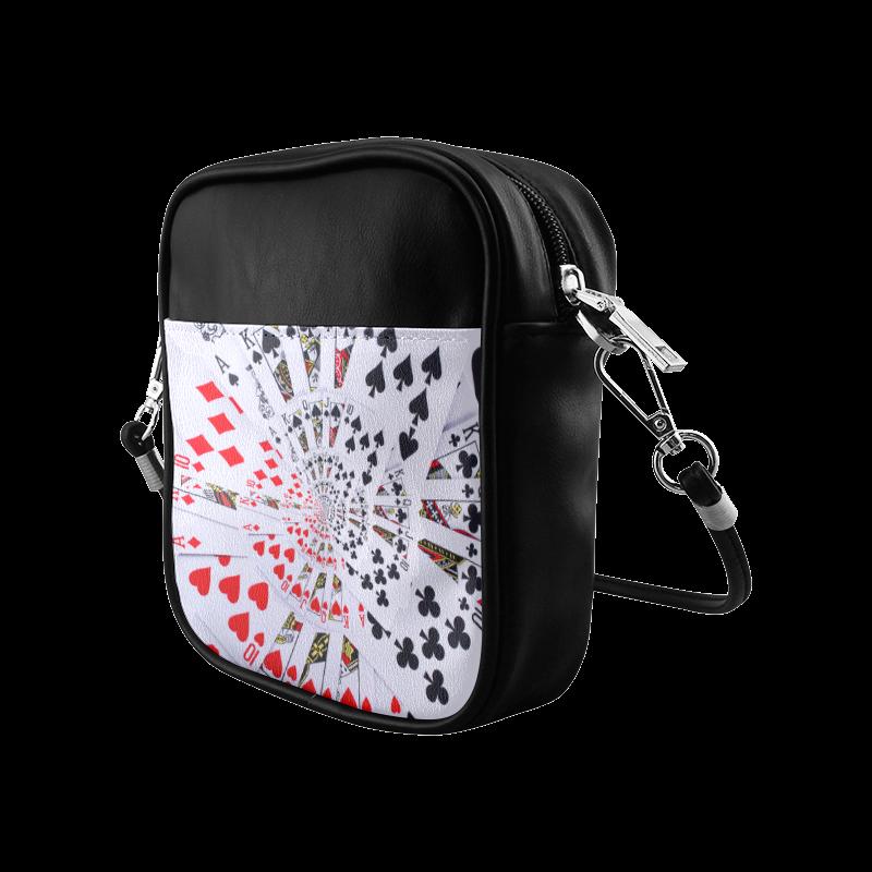 Poker Royal Flush All Suits Droste Spiral Sling Bag (Model 1627)