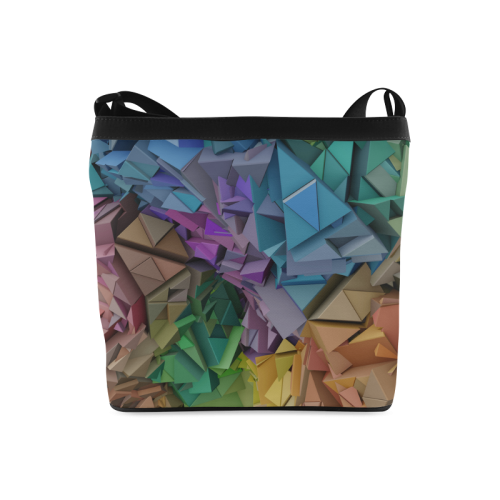 Colorful Abstract 3D Low Poly Geometric Crossbody Bags (Model 1613)