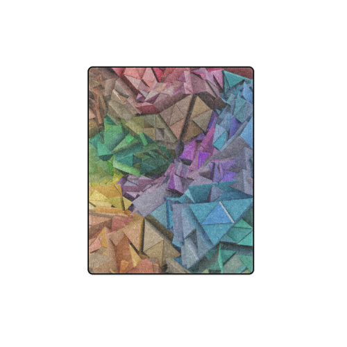 "Colorful Abstract 3D Low Poly Geometric Blanket 40""x50"""
