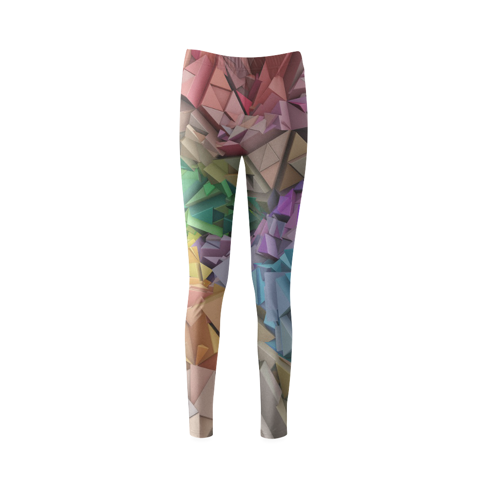 Colorful Abstract 3D Low Poly Geometric Cassandra Women's Leggings (Model L01)