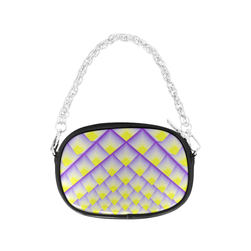 Yellow and Purple 3D Pyramids Pattern Chain Purse (Model 1626)