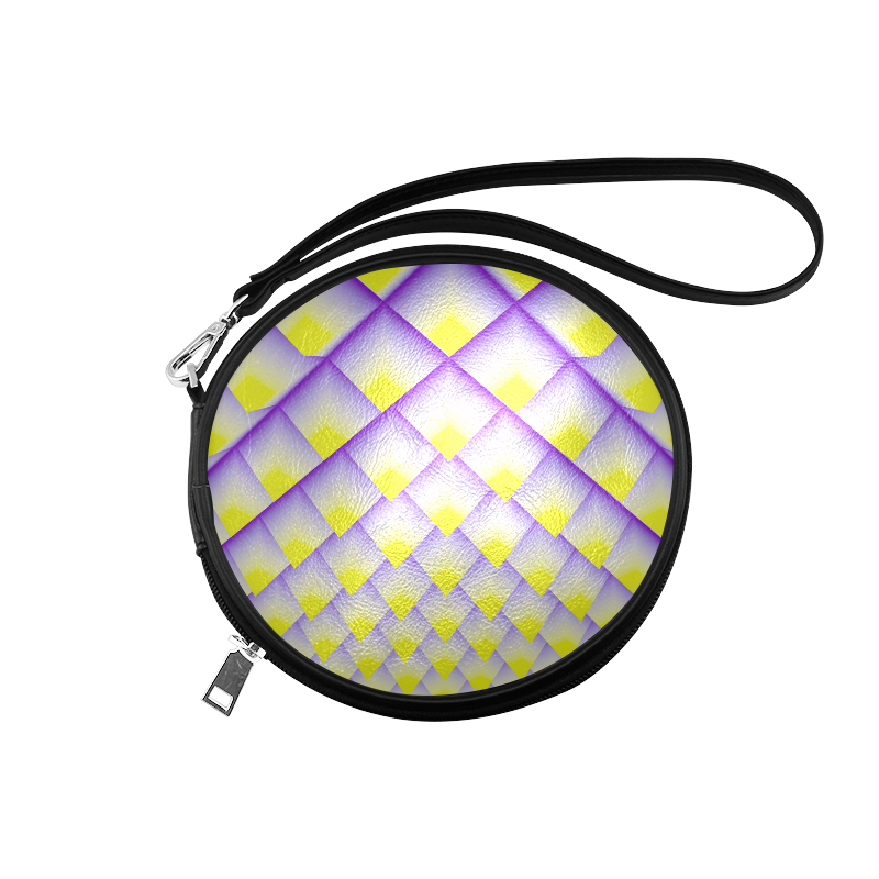 Yellow and Purple 3D Pyramids Pattern Round Makeup Bag (Model 1625)