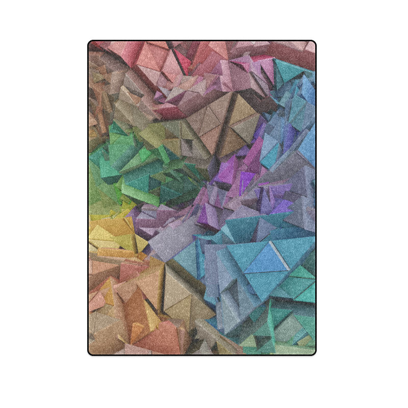 """Colorful Abstract 3D Low Poly Geometric Blanket 58""""x80"""""""