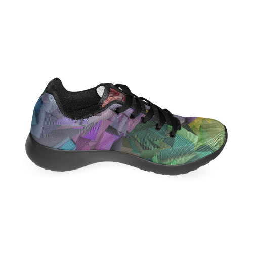 Colorful Abstract 3D Low Poly Geometric Women's Running Shoes (Model 020)