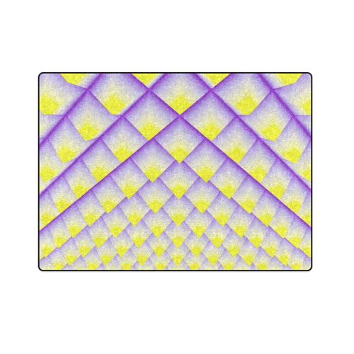 """Yellow and Purple 3D Pyramids Pattern Blanket 58""""x80"""""""