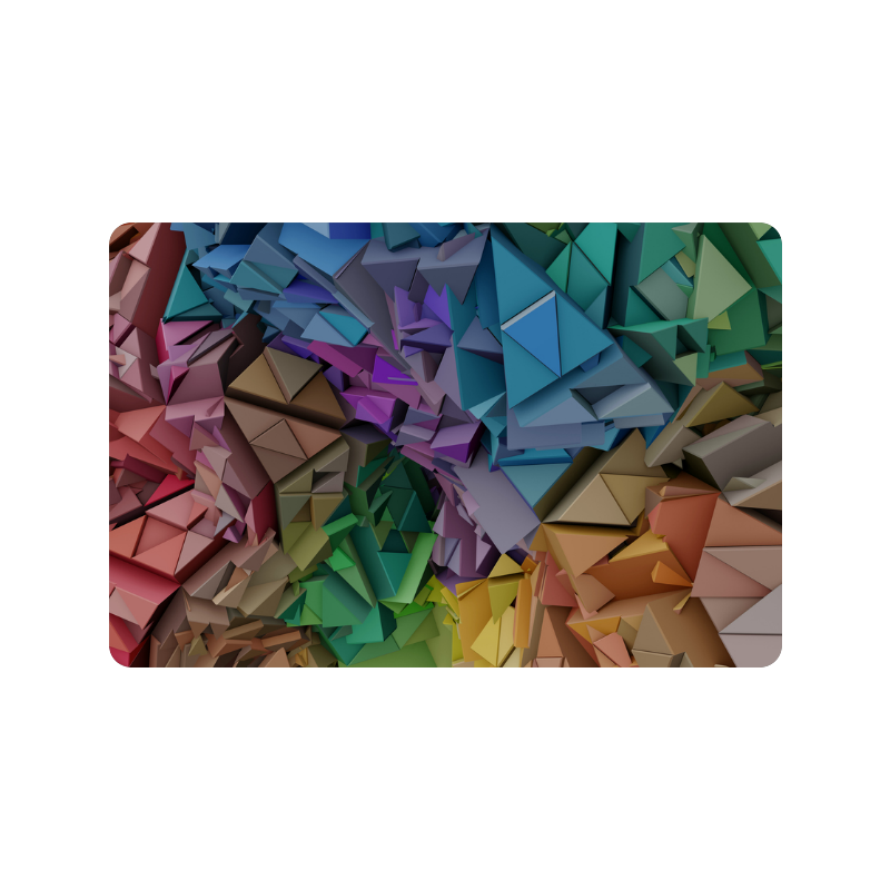 """Colorful Abstract 3D Low Poly Geometric Doormat 24"""" x 16"""""""