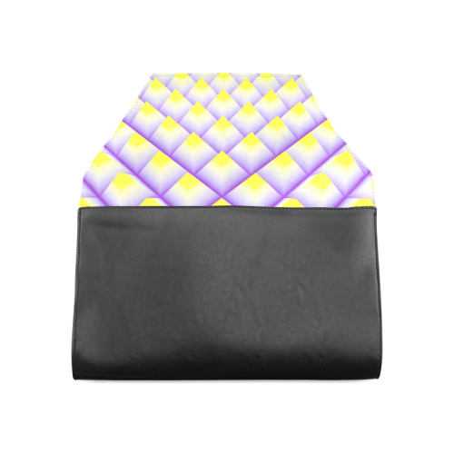Yellow and Purple 3D Pyramids Pattern Clutch Bag (Model 1630)