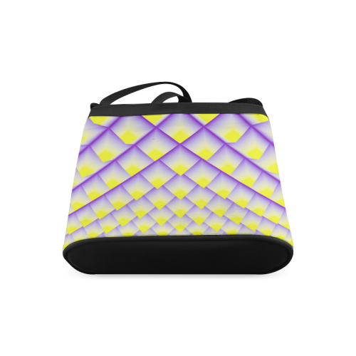 Yellow and Purple 3D Pyramids Pattern Crossbody Bags (Model 1613)