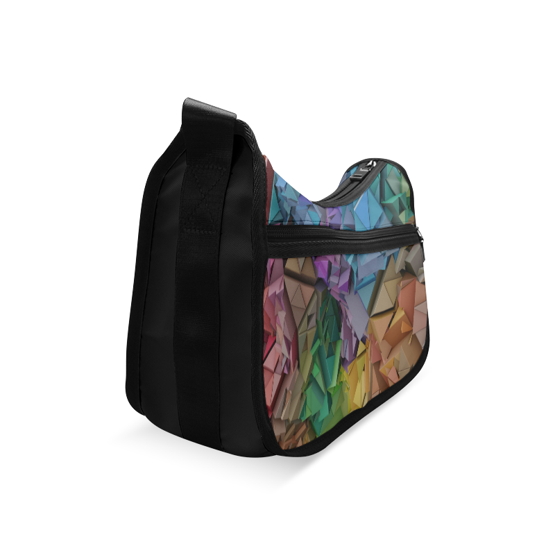 Colorful Abstract 3D Low Poly Geometric Crossbody Bags (Model 1616)