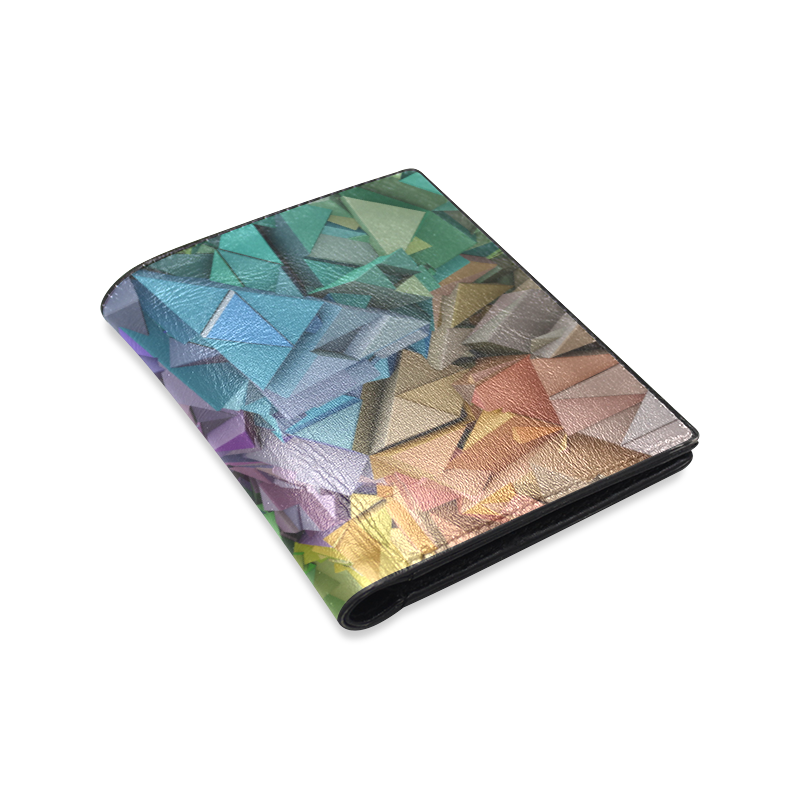 Colorful Abstract 3D Low Poly Geometric Men's Leather Wallet (Model 1612)