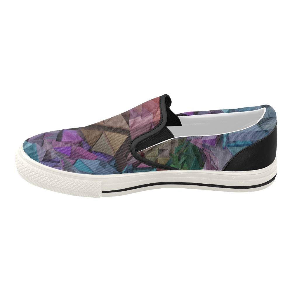 Colorful Abstract 3D Low Poly Geometric Women's Slip-on Canvas Shoes (Model 019)