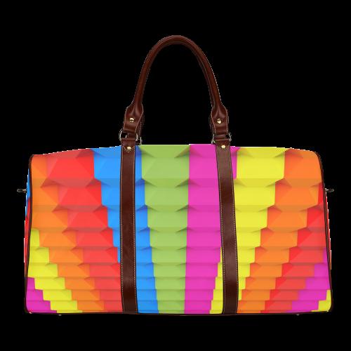 Colorful 3D Geometric Blocks Waterproof Travel Bag/Large (Model 1639)
