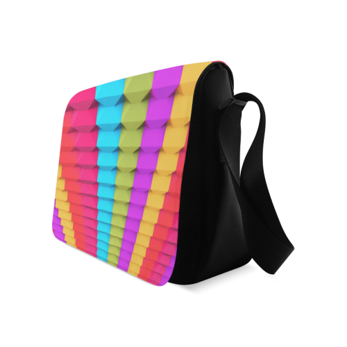 Colorful 3D Geometric Blocks Messenger Bag (Model 1628)
