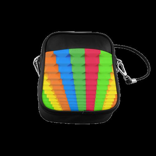 Colorful 3D Geometric Blocks Sling Bag (Model 1627)