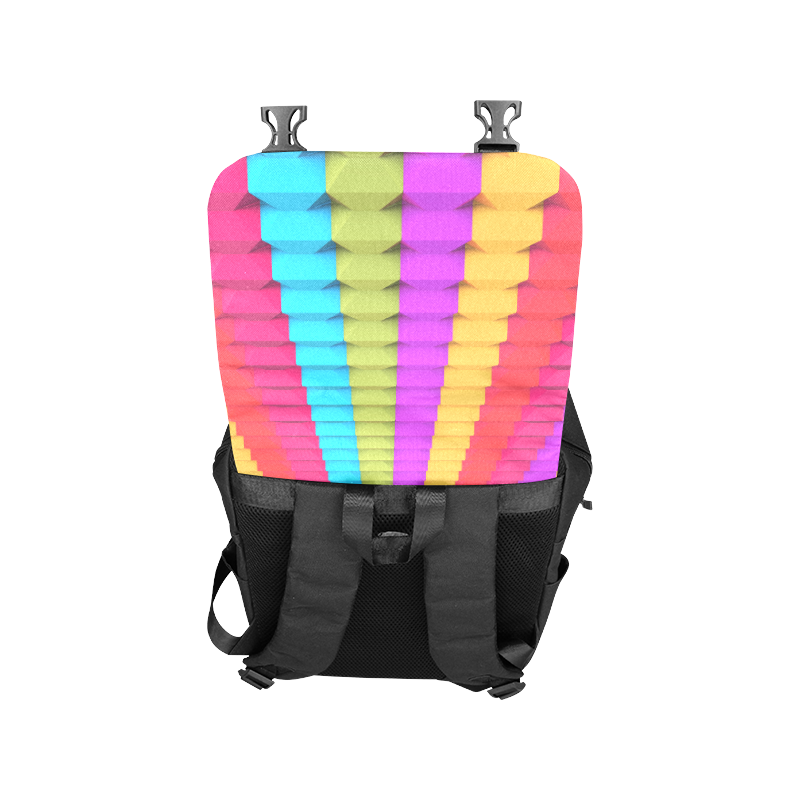 Colorful 3D Geometric Blocks Casual Shoulders Backpack (Model 1623)