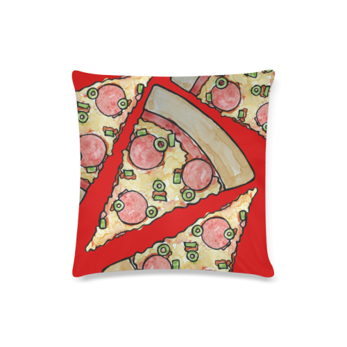 """Deluxe Pizza Lover Custom Zippered Pillow Case 16""""x16""""(Twin Sides)"""