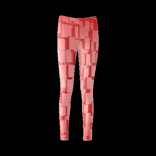 Glossy Red 3d Cubes Cassandra Women's Leggings (Model L01)