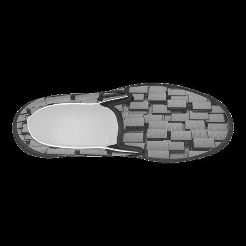Glossy Black 3d Cubes Women's Slip-on Canvas Shoes (Model 019)