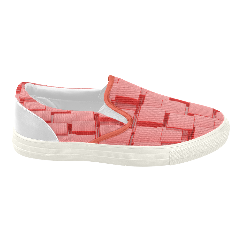 Glossy Red 3d Cubes Women's Slip-on Canvas Shoes (Model 019)
