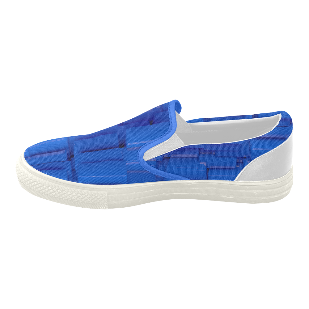 Glossy Blue 3d Cubes Women's Slip-on Canvas Shoes (Model 019)