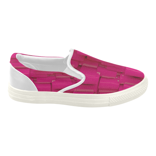 Glossy Pink 3d Cubes Women's Slip-on Canvas Shoes (Model 019)