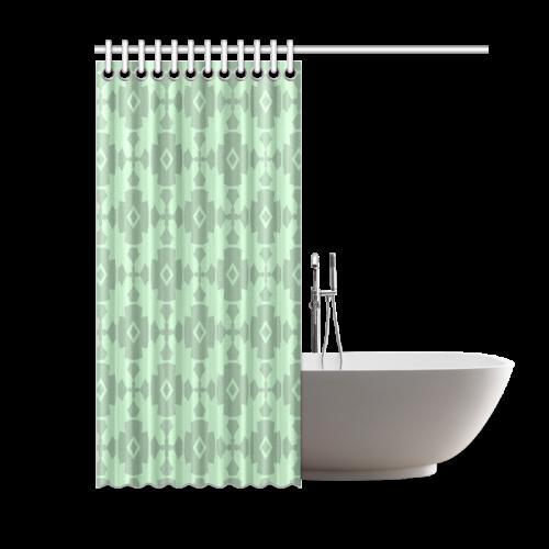 "Mint Green Geometric Tile Pattern Shower Curtain 60""x72"""
