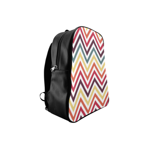 Colorful Modern Chevron School Backpack/Large (Model 1601)