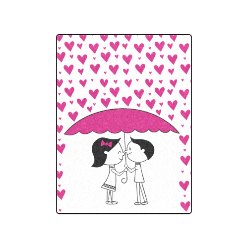 "Romantic Couple With Hearts Blanket 50""x60"""