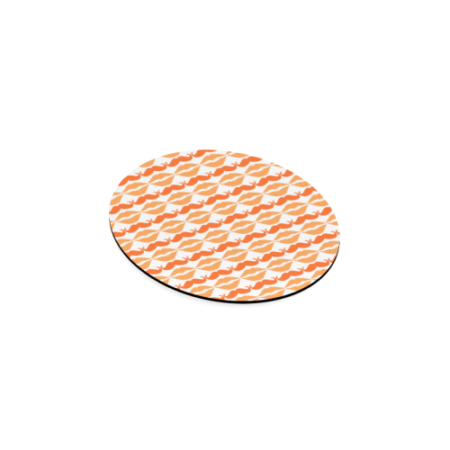 Orange Hipster Mustache and Lips Round Coaster