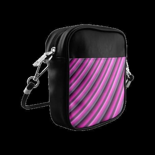Glossy Pink Gradient Stripes Sling Bag (Model 1627)