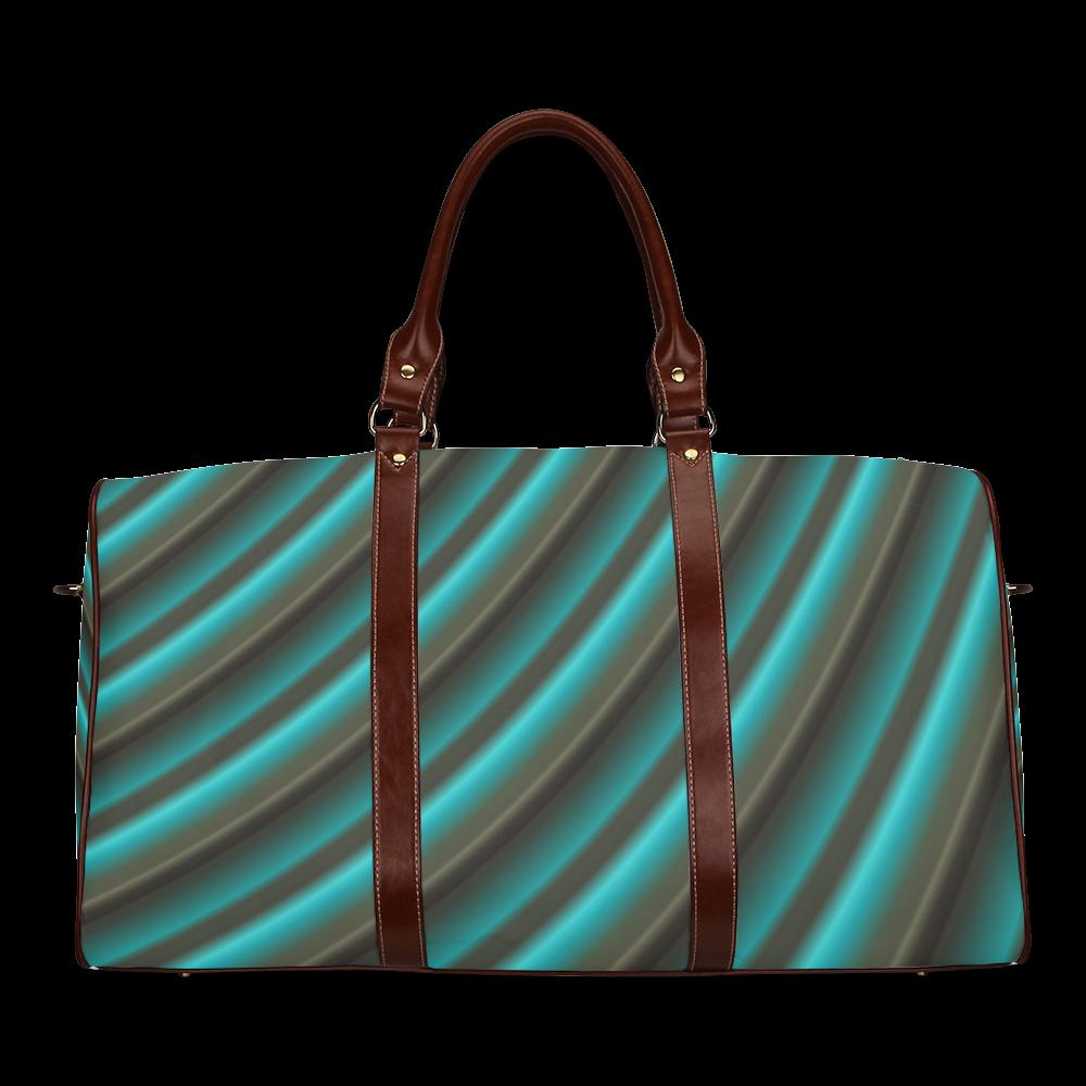 Glossy Green Gradient Stripes Waterproof Travel Bag/Large (Model 1639)