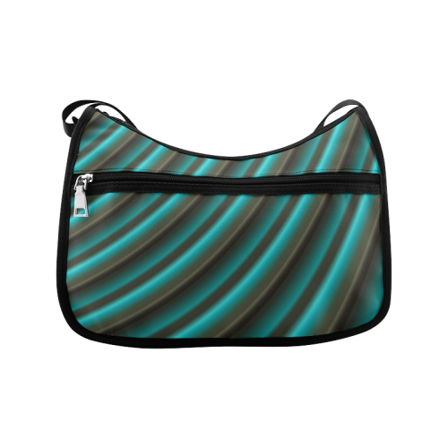 Glossy Green Gradient Stripes Crossbody Bags (Model 1616)