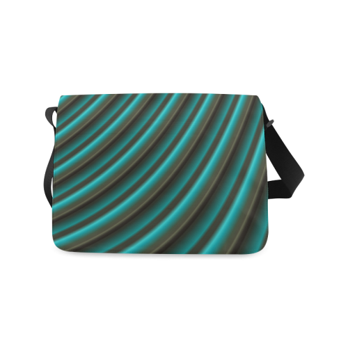 Glossy Green Gradient Stripes Messenger Bag (Model 1628)