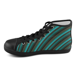 Glossy Green Gradient Stripes Men's High Top Canvas Shoes (Model 002)