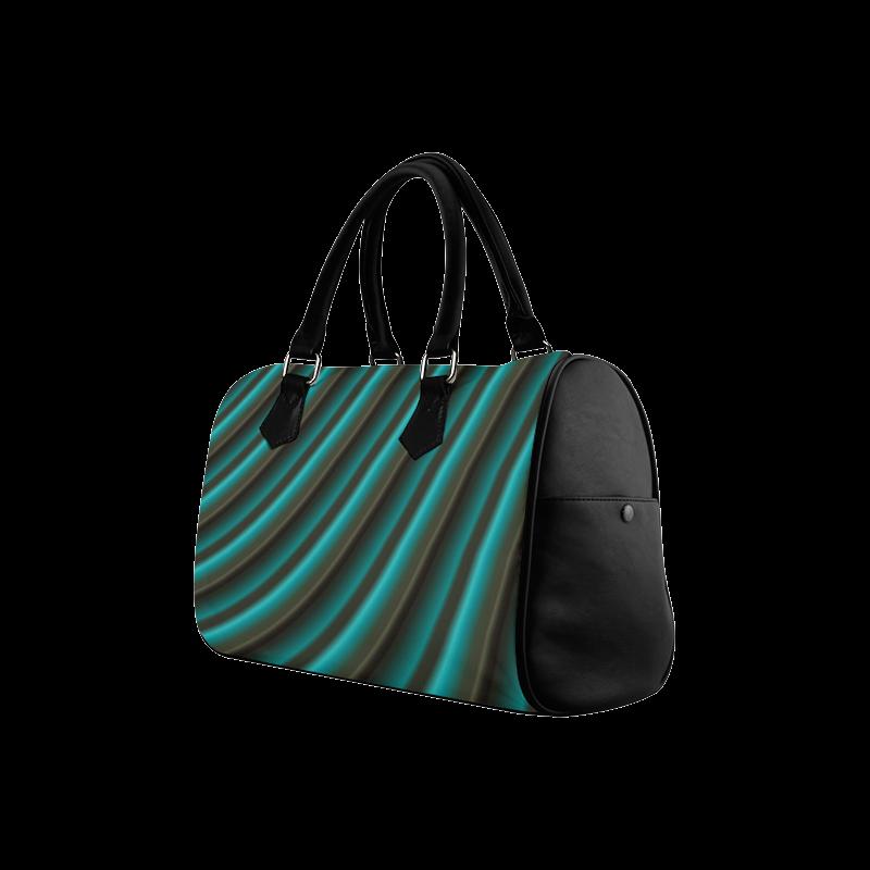 Glossy Green Gradient Stripes Boston Handbag (Model 1621)