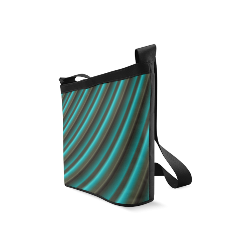 Glossy Green Gradient Stripes Crossbody Bags (Model 1613)
