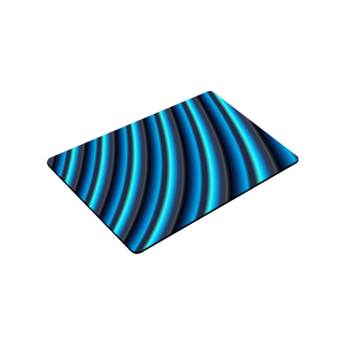 "Glossy Blue Gradient Stripes Doormat 30""x18"""