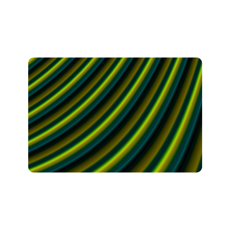"Glossy Lime Green  Gradient Stripes Doormat 24"" x 16"""