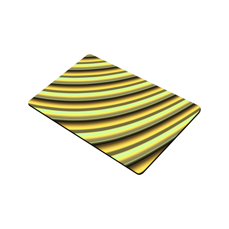 "Glossy Yellow Gradient Stripes Doormat 30""x18"""