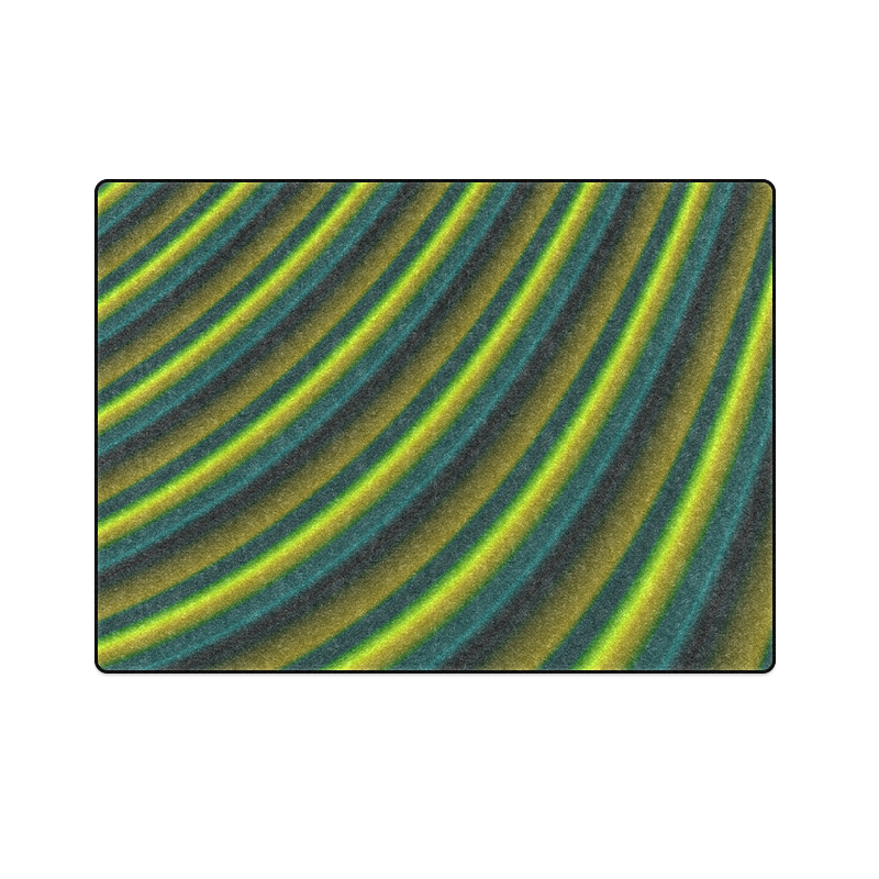"""Glossy Lime Green Gradient Stripes Blanket 58""""x80"""""""