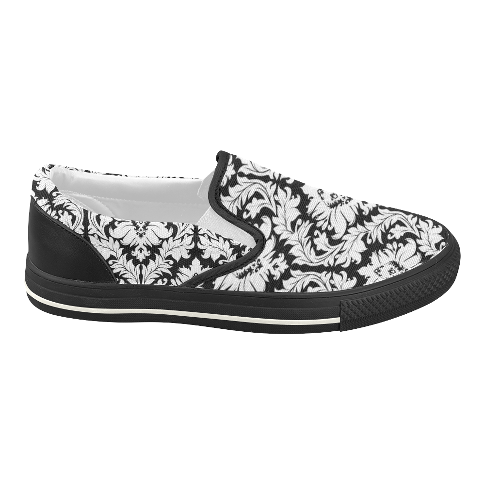 Black and White Damask Pattern Women's Slip-on Canvas Shoes (Model 019)