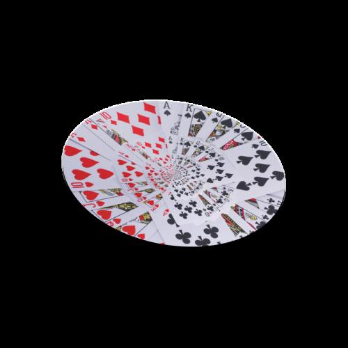 Casino Poker Royal Flush Droste Spiral Round Mousepad