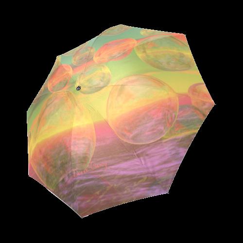 Autumn Ruminations, Abstract Gold Rose Glory Foldable Umbrella (Model U01)