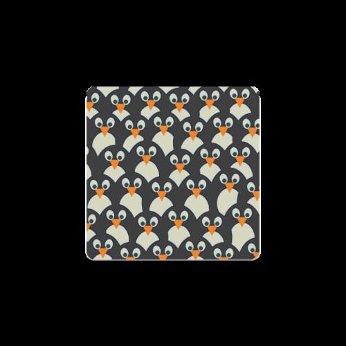Penguin Pile-Up Square Coaster