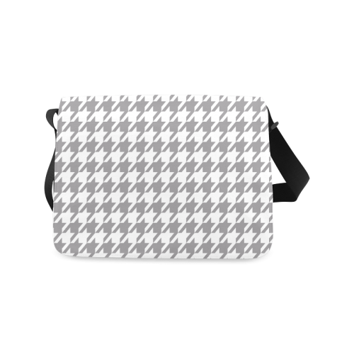 grey and white houndstooth classic pattern Messenger Bag (Model 1628)