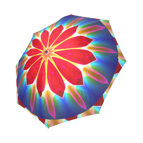 Blue Ice Flowers Red Abstract Modern Petals Zen Foldable Umbrella (Model U01)