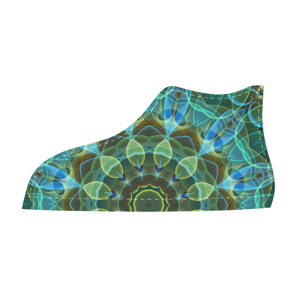 green leaves mandala abstract art Men's High Top Canvas Shoes (Model 002)