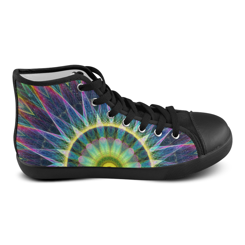 flower eye colorful mandala abstract art Men's High Top Canvas Shoes (Model 002)